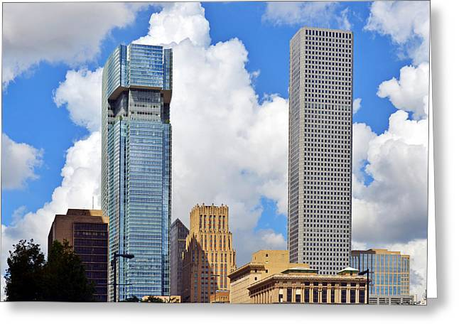 High Rise Greeting Cards - Gulf Building Houston Texas Greeting Card by Christine Till