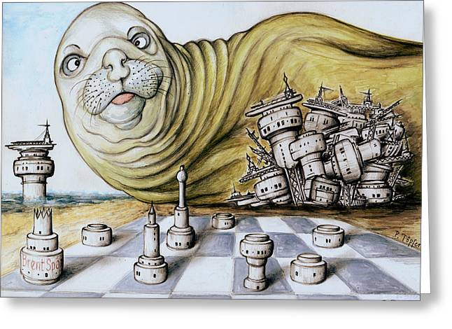 Sea Platform Drawings Greeting Cards - Gulf Coast Chess - Cartoon Drawing Greeting Card by Peter Fine Art Gallery  - Paintings Photos Digital Art