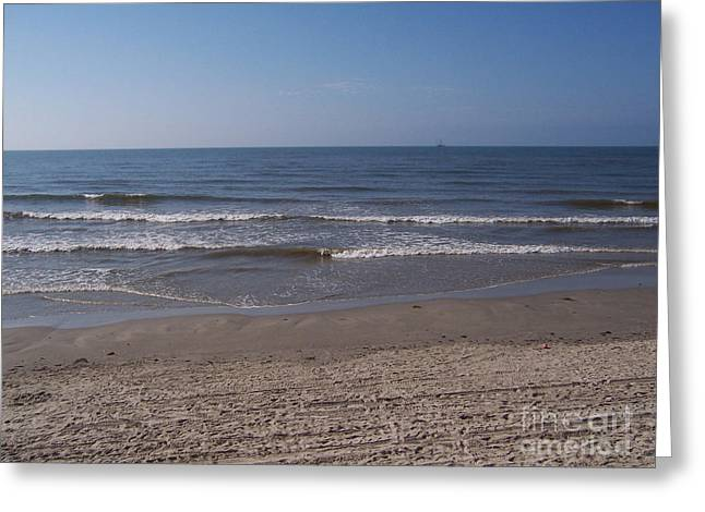 Galveston Greeting Cards - Gulf of Mexico and Sand Greeting Card by Ruth  Housley