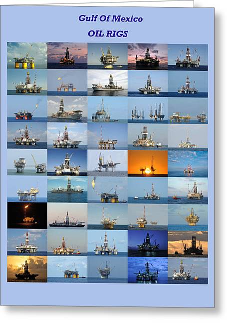 Sea Platform Greeting Cards - Gulf of Mexico Oil Rigs Poster Greeting Card by Bradford Martin