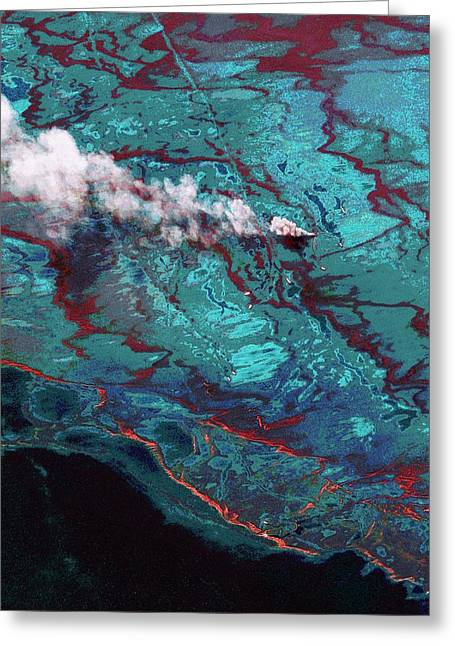 Gulf Of Mexico Oil Spill Greeting Card by Digital Globe