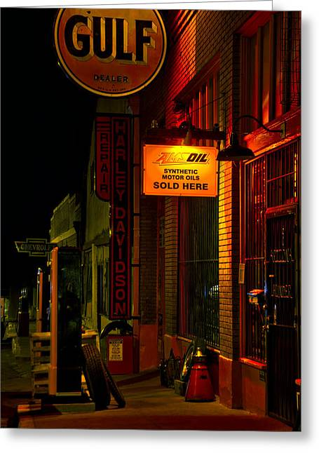 Bisbee Greeting Cards - Gulf Oil Night Vertical Greeting Card by Dave Dilli