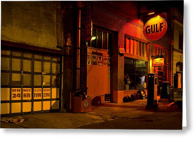 Gulf Oil Vintage Night Time Horizontal Greeting Card by Dave Dilli
