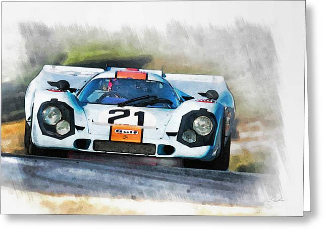 Peter Chilelli Greeting Cards - Gulf Porsche Greeting Card by Peter Chilelli