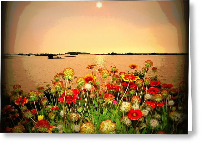 Cedar Key Greeting Cards - Gulf Side Flowers 3 Greeting Card by Sheri McLeroy