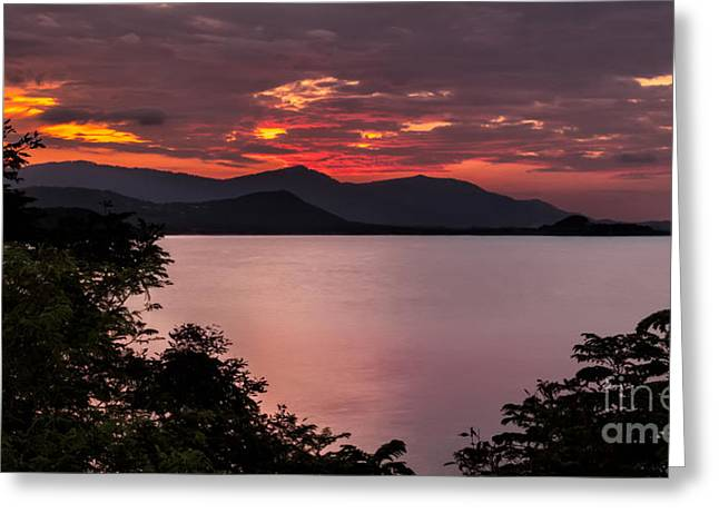 Koh Samui Greeting Cards - Gulf Sunset Greeting Card by Adrian Evans