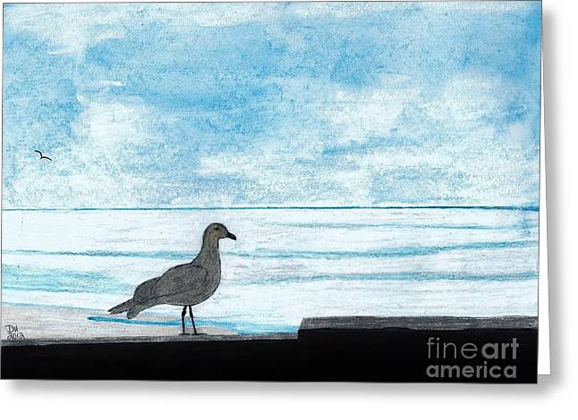 Surf Silhouette Drawings Greeting Cards - Seagull - By The - Sea Greeting Card by D Hackett