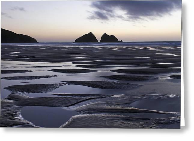 St Piran Greeting Cards - Gull Rocks Holywell Bay Greeting Card by Debra Jayne