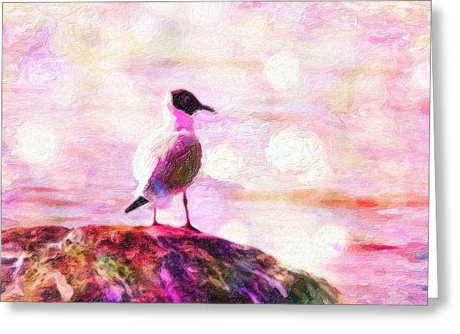 Flying Seagull Mixed Media Greeting Cards - Gull Scouts from stone Greeting Card by Toppart Sweden