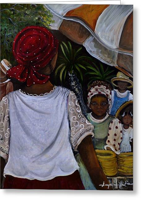 African Heritage Mixed Media Greeting Cards - Gullah Geechee Kinfolks Greeting Card by Sonja Griffin Evans
