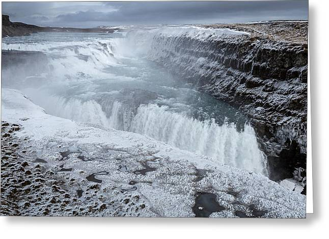 Natural World Greeting Cards - Gullfoss Waterfall, Golden Falls Greeting Card by Panoramic Images