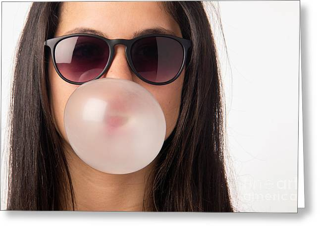 Balloon Greeting Cards - Gum Girl Greeting Card by Carlos Caetano