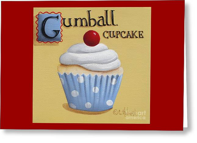 Frosting Greeting Cards - Gumball Cupcake Greeting Card by Catherine Holman