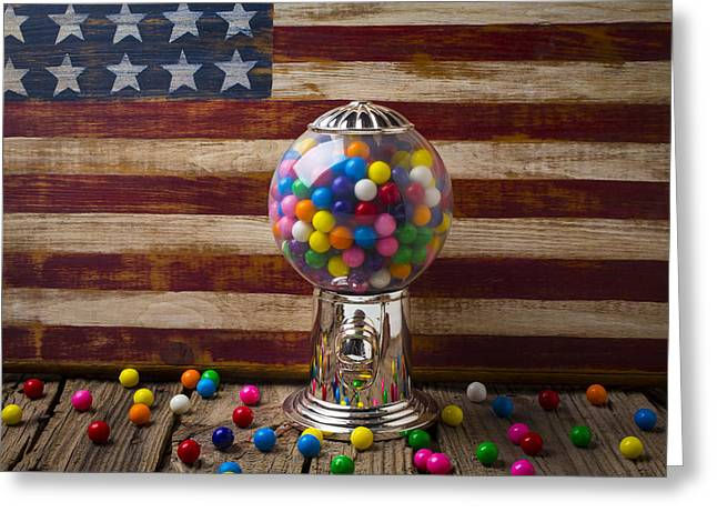 Ball Room Greeting Cards - Gumball machine and old wooden flag Greeting Card by Garry Gay