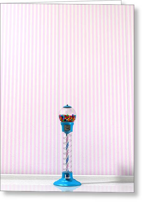 Copy Machine Greeting Cards - Gumball Machine In A Candy Store Greeting Card by Allan Swart