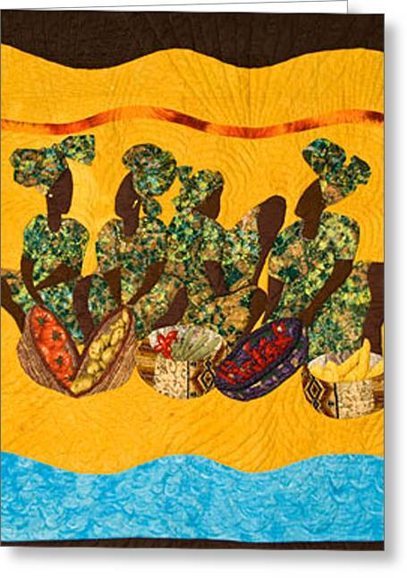Black Tapestries - Textiles Greeting Cards - Gumbo Ladies Greeting Card by Aisha Lumumba