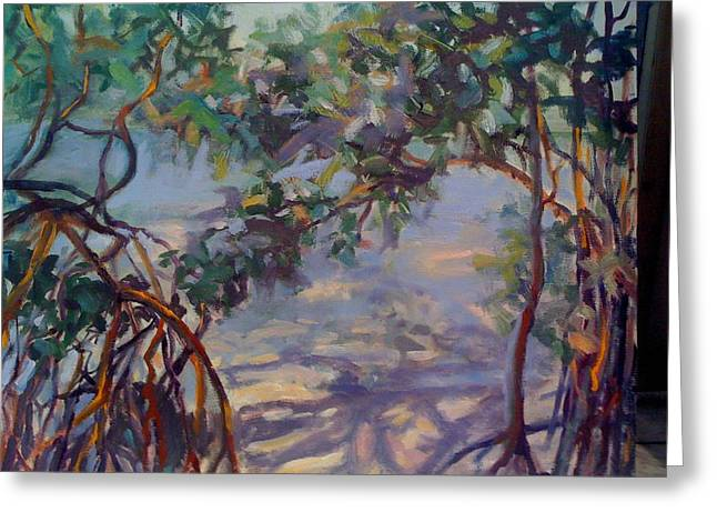 Tree Roots Paintings Greeting Cards - Gumbo Limbo Shadows Greeting Card by Patricia Maguire