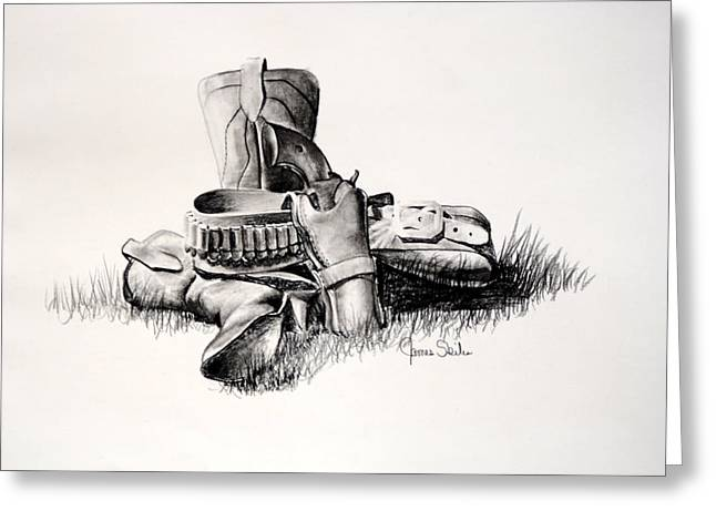 Gun And Holster Greeting Card by James Skiles