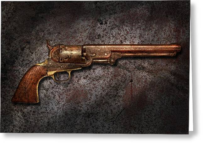Gunman Greeting Cards - Gun - Colt Model 1851 - 36 Caliber Revolver Greeting Card by Mike Savad