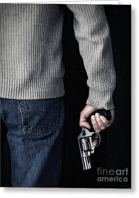 Undercover Greeting Cards - Gun Greeting Card by Edward Fielding