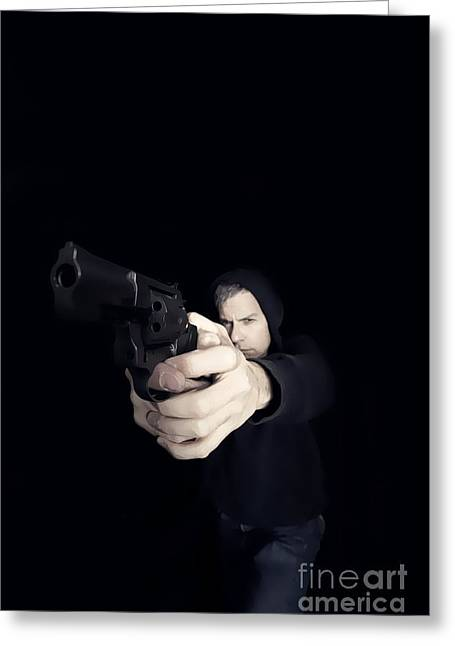 Undercover Greeting Cards - Gun Man Greeting Card by Edward Fielding