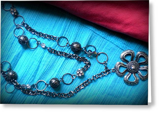 Handcrafted Jewelry Greeting Cards - Gun Metal Charm Greeting Card by Beth Sebring