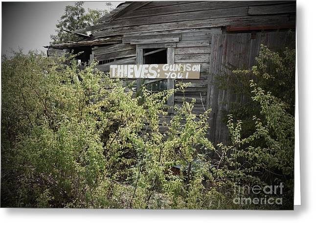 Tennessee Barn Greeting Cards - Gun On You Greeting Card by Eloise Schneider