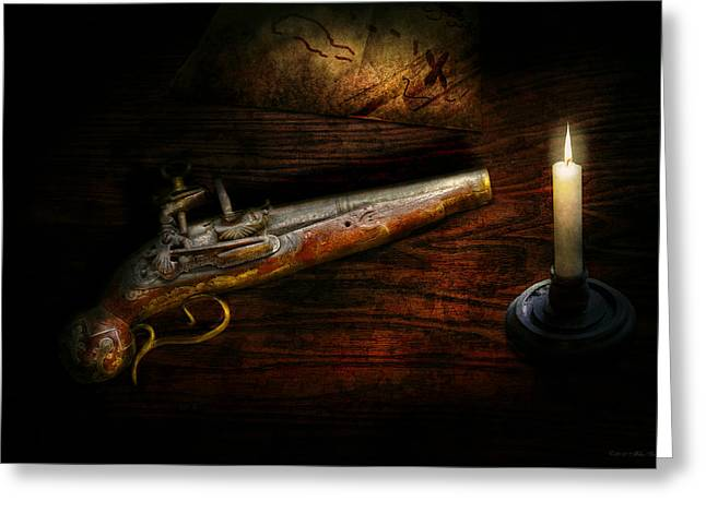 Gun - Pistol - Romance of pirateering Greeting Card by Mike Savad