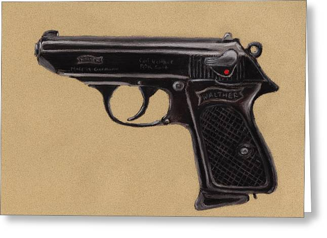 Barrel Pastels Greeting Cards - Gun - Pistol - Walther PPK Greeting Card by Anastasiya Malakhova