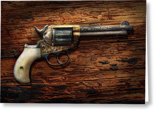 Gun - Police - True Grit Greeting Card by Mike Savad
