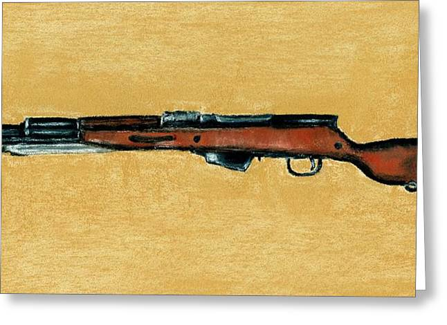 Barrel Pastels Greeting Cards - Gun - Rifle - SKS Greeting Card by Anastasiya Malakhova