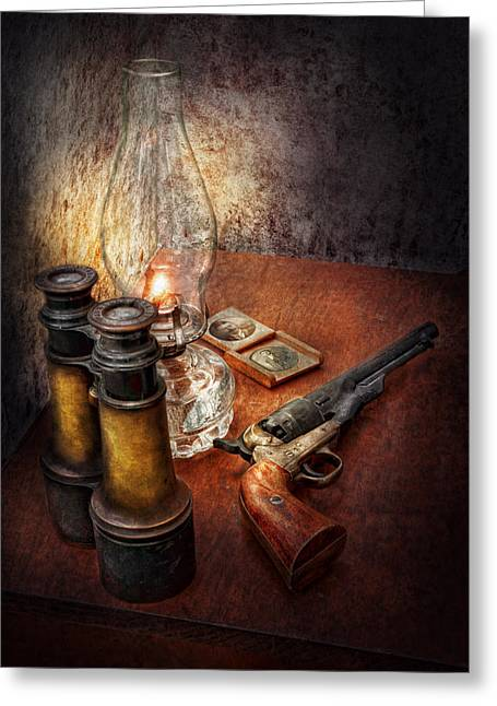Gunman Greeting Cards - Gun - The adventures code  Greeting Card by Mike Savad