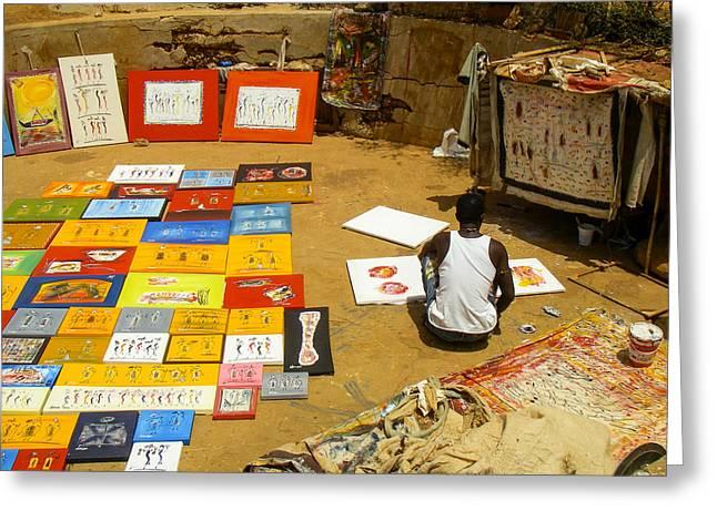 Geobob Greeting Cards - Gun Well Artist Studio Ile de Goree Dakar Senegal West Africa Greeting Card by Robert Ford