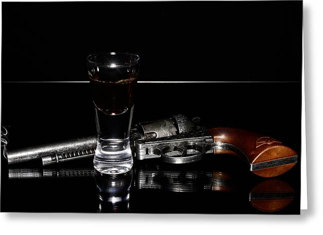 Glas Greeting Cards - Gun with smoke Greeting Card by Toppart Sweden