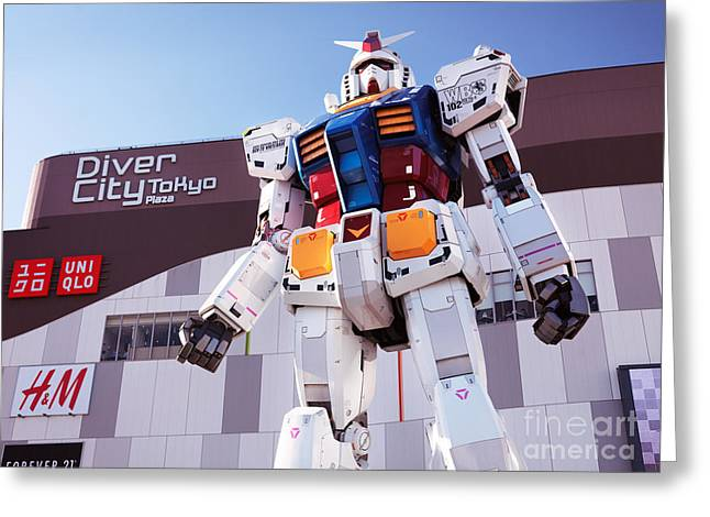 Giant Robot Greeting Cards - Gundam giant statue in Diver City Tokyo Japan Greeting Card by Oleksiy Maksymenko