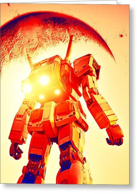 Gundam In Flight Greeting Card by Brady Barrineau