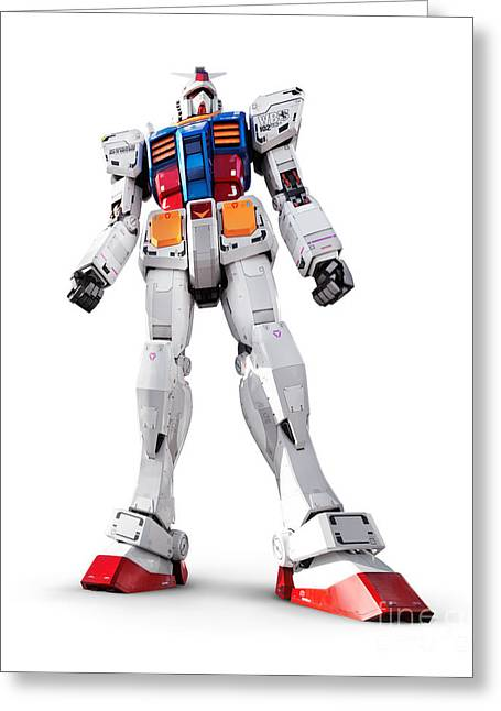 Giant Robot Greeting Cards - Gundam RX-78-2 statue isolated on white Greeting Card by Oleksiy Maksymenko