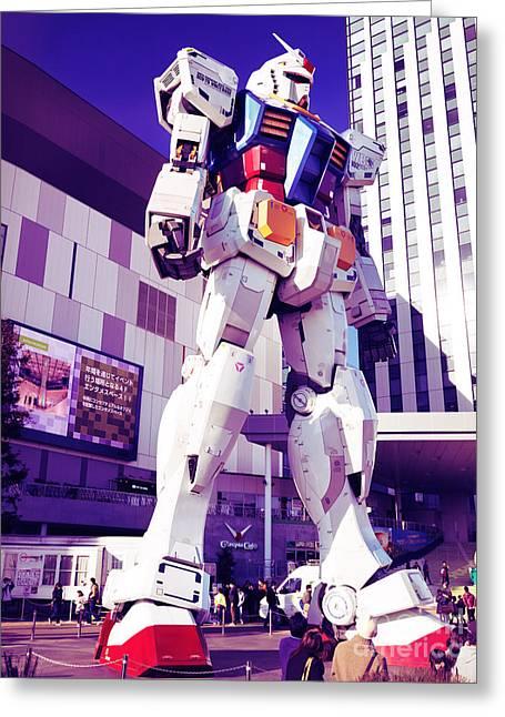 Giant Robot Greeting Cards - Gundam statue at Diver City Odaiba Tokyo Japan Greeting Card by Oleksiy Maksymenko