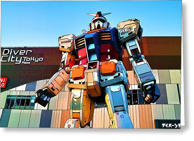 Giant Robot Greeting Cards - Gundam Toon Greeting Card by Brady Barrineau
