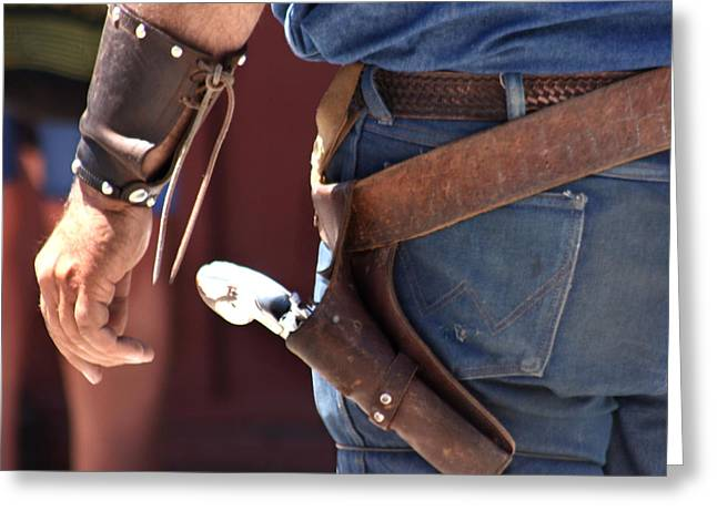 Gunfighter In Blue Greeting Card by Art Block Collections