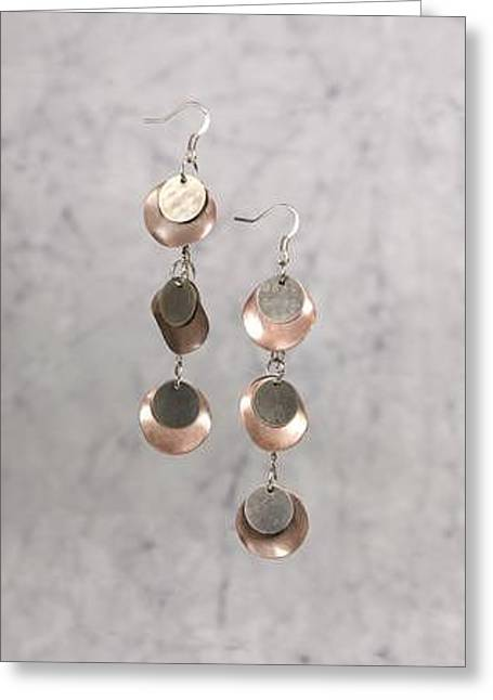 Coins Jewelry Greeting Cards - Gunmetal and Copper CoinType Earrings Greeting Card by Kimberly Johnson