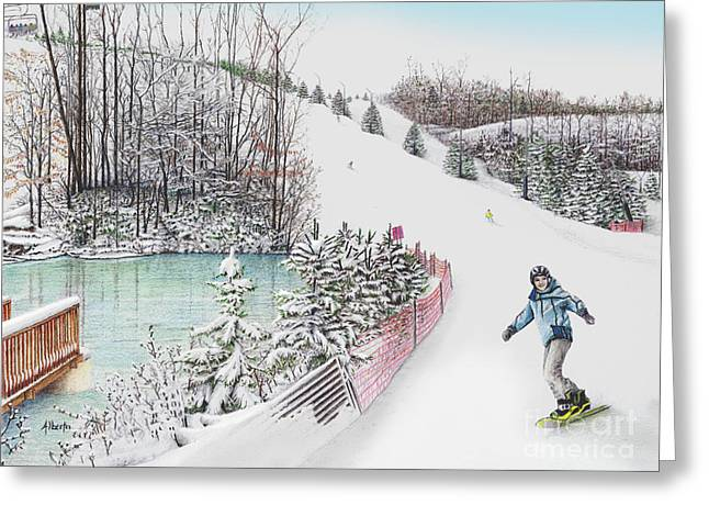 Slalom Skiing Greeting Cards - Gunnar Slope and The Ducky Pond Greeting Card by Albert Puskaric