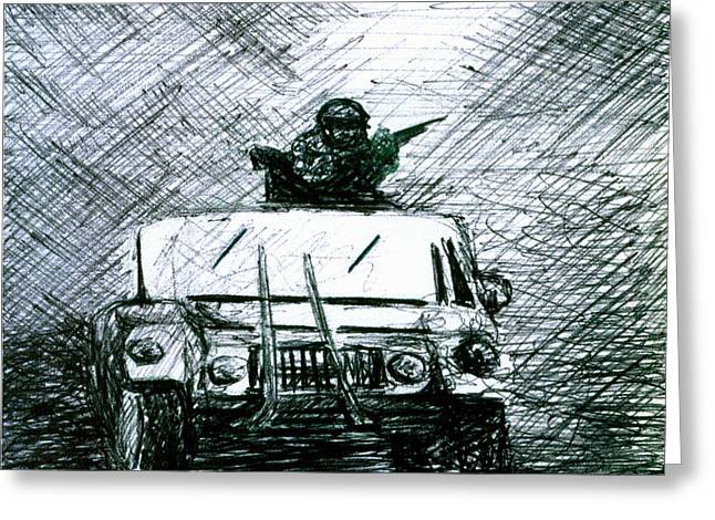 Iraq Drawings Greeting Cards - Gunner Greeting Card by Kd Neeley