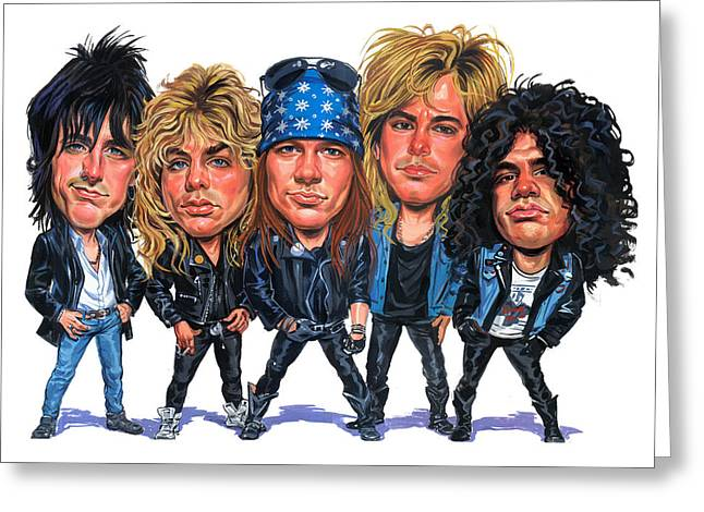 Art Glass Greeting Cards - Guns N Roses Greeting Card by Art