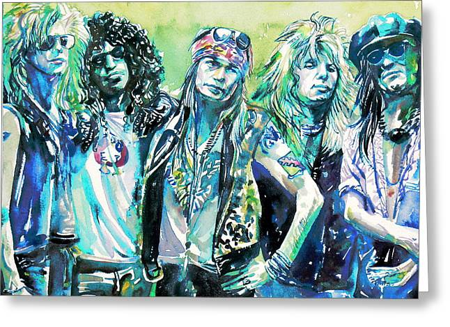 Axl Rose Greeting Cards - GUNS N ROSES - watercolor portrait Greeting Card by Fabrizio Cassetta