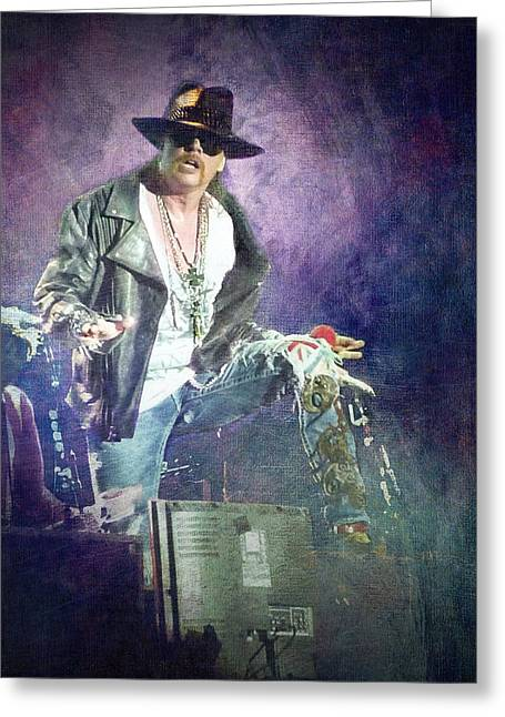 Guns N' Roses Lead Vocalist Axl Rose Greeting Card by Loriental Photography