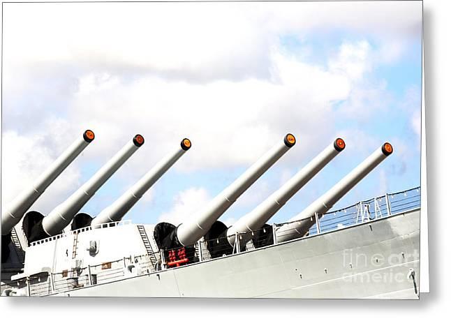 16 Inch Guns Greeting Cards - Guns of the USS Missouri Greeting Card by Jan Tyler