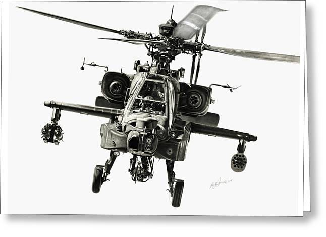 Flying Drawings Greeting Cards - Gunship Greeting Card by Murray Jones