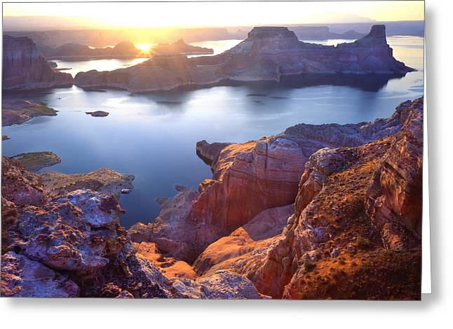 Glen Canyon National Recreation Area Greeting Cards - Gunsight Bay Sunrise Greeting Card by Ray Mathis