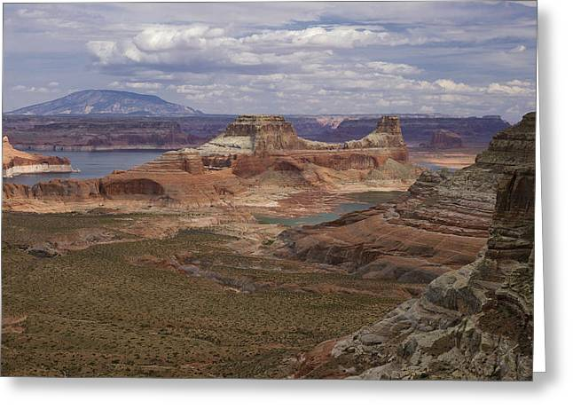 Desert Lake Greeting Cards - Lake Powell - Gunsight Butte  Greeting Card by Saija  Lehtonen